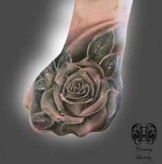 Black n Grey Rose on Hand