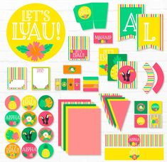 Let's Luau Party PRINTABLE INSTANT DOWNLOAD by Lindi | Etsy Diy Party Packs, Luau Cupcakes, Pendant Banner, Party Flags, Tent Cards, Gift Tags Printable, Luau Party, Summer Diy, Diy For Girls
