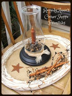 Primitive Early Lighting Candle Gathering/Centerpiece.. Candle Holder w/Hurricane Shade, Cutting Board, Burlap, Rusty Stars, Pip Berries, Cinnamon Sticks