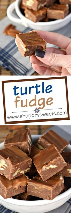 Turtle Fudge is made with a rich, chocolate base and swirled with caramel and packed with crunchy pecans! Fudge Recipes, Best Dessert Recipes, Candy Recipes, Easy Desserts, Sweet Recipes, Delicious Desserts, Desert Recipes, Yummy Recipes, Gluten Free Desserts