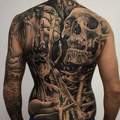 Skull back tattoo..
