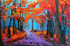 Autumn Forest, Purple Path, Modern Impressionist, Palette Knife painting Canvas Print / Canvas Art by Patricia Awapara
