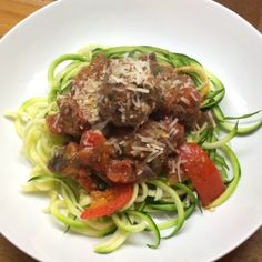 """Try this banging Italian meatball meal #LowCarb  Home made meatballs with courgette noodles using a #Spiraliser! It needed more flavour so I added…"""