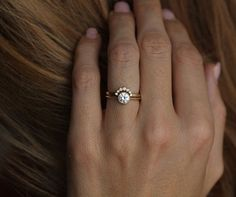 Yellow gold Diamond Ring With Curved Diamond Band Simple