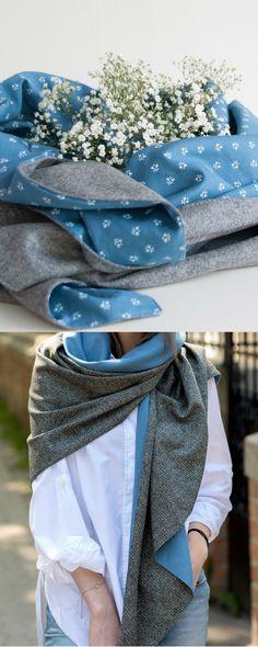 Dreieckstuch aus Loden aus Merinowolle und Dirndl-Stoff personalisiert