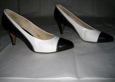 Vintage White with Black Patent Oxford by ExpertImageVintage, $25.00