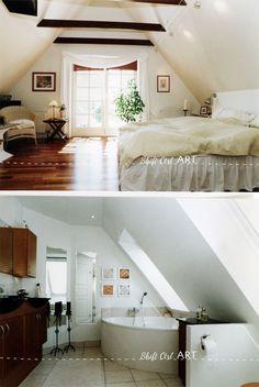 Bedroom exposed rafters via Ledom @ Shift Ctrl ART Attic Inspiration, Design Inspiration, Master Suite, Master Bedroom, White Wood Paneling, Log Wall, Exposed Rafters, Attic Remodel, House Design