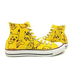 Pokemon Pikachu Converse Shoes Men Women Hand Painted High Top Canvas...  (77 ARS) ❤ liked on Polyvore featuring men s fashion 17385f9c7ef8