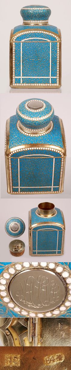 A Russian gilded silver and cloisonne enamel tea caddy by Ivan Saltykov, Moscow, circa 1890. Of traditional square form with domed shoulders and knop lid, each side bathed with turquoise enamel over exposed pattern of scrolling filigree work, highlighted with a window of thin white enamel lines and bordered with rows of white beading, the lid decorated en suite, the interior fitted with a gilded silver mounted cork stopper.