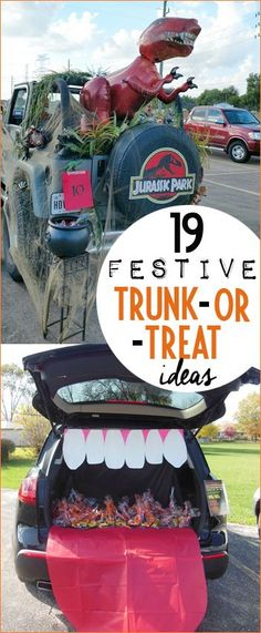 Creative Ways to Decorate Your Car for Trunk or Treat. Clever homemade ideas to dress up your car for Trick or Treating. Jurassic Park, Charlie Brown, Candy Land, Shark Attack, Haunted House, Nemo, Sandlot, Day of the Dead and more. Family friendly Trunk or Treat Ideas.