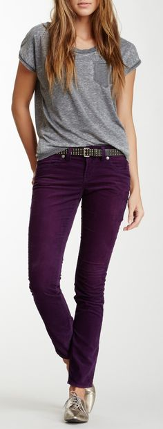 Purple skinny and grey T