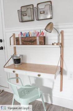 Kids Homework Station with IKEA SVALNÄS Wall Mounted Desk. Learn how I painted this desk to create a kids desk that actually adjusts to their size as they grow! This is the perfect space saver desk for small areas and DIY kids homework stations.