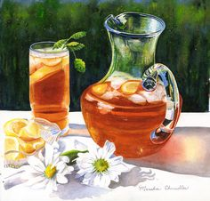 Still Lifes by Marsha Chandler Food Painting, Painting & Drawing, Tee Illustration, Southern Sweet Tea, Pen Art, Watercolor Paintings, Watercolors, Kitchen Art, Food Illustrations
