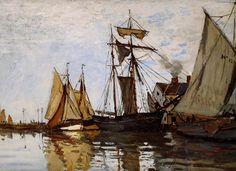 Acheter Tableau 'Pont de Honfleur Sun' de Claude Monet - Achat d'une reproduction sur toile peinte à la main , Reproduction peinture, copie de tableau, reproduction d'oeuvres d'art sur toile