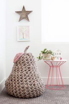 Hand crochet a giant pear pouffe. Crochet pattern in Mollie Makes 75