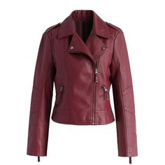 Chicwish Chic and Stylish Faux Leather Biker Jacket in Wine (1.065 ARS) ❤ liked on Polyvore featuring outerwear, jackets, coats, coats & jackets, red, zip jacket, red moto jacket, motorcycle jacket, faux leather biker jacket and zipper jacket