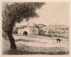 The monument on the tomb of Rachel, on the path Ephra (Genesis XXXV, 19 by Marc Chagall. Size: Medium: etching on paper . Marc Chagall, Modern Artists, French Artists, Etching Prints, Modigliani, Stage Set, Manet, Naive Art, Kandinsky