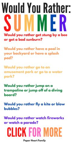 Summer would you rather questions for kids: a fun summer activity for kids, with a free printable. You can do this activity poolside, on a road trip or simply at home on a hot, summer day. It's free, it's easy and it's super fun! Silly Questions To Ask, Would You Rather Questions, This Or That Questions, Summer Activities For Kids, Fun Activities, Sleepover Activities, Funny Would You Rather, Family Fun Night, Jokes For Kids