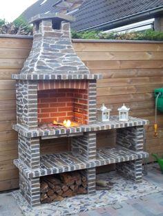 Resultado de imagen para buitenkeuken maken Backyard Play, Backyard Patio, Backyard Landscaping, Stone Bbq, Barbecue Garden, Brick Bbq, Casa Patio, Outside Room, Outdoor Oven