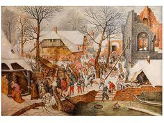 "Pieter Brueghel d. J., 1564 Brüssel - 1638 Antwerpen ANBETUNG DER HEILIGEN DREI KÖNIGE Öl auf Holz. 39,1 x 56 cm. Eigenhändige Arbeit von Pieter Brueghel d.J. Links unten signiert ""P. Breughel"". Dem Gemälde… - Hampel - 25/03/2015"