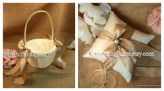 Elite Satin Ring Pillow and Flower Girl Basket by RomancingJuliet, $52.25