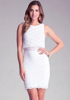 bebe Gloria Scallop Lace Dress