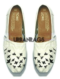 """Hand Painted Toms """"Birds Fly Away"""""""