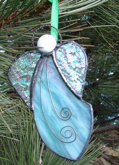 Green Pink and White Stained Glass Angel Ornament by GlassPizazz