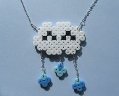 Happy Rain Cloud Necklace Perler Bead Silver Chain