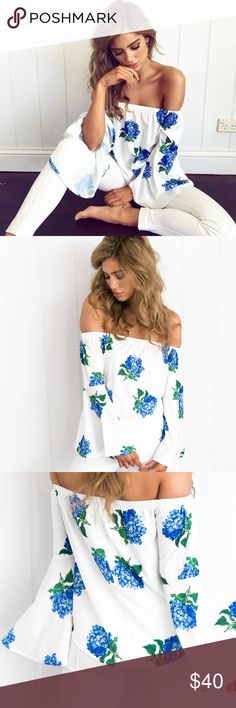 SALE // 1️⃣ LRG //  Solidity Bell Sleeve Top DETAILS : Mura Boutique White and blue foral print Off shoulder style Long, large sleeves Slip on wear Not lined Cotton / Polyester  MODEL INFORMATION Model: Belle wears AUS 8/S Boutique Tops Blouses