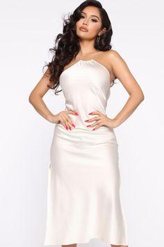 Available In Ivory And Black. Satin Midi Dress, Mauve Dress, Sequin Mini Dress, Satin Dresses, Unique Prom Dresses, Nice Dresses, Classy White Dress, Dress Black, Fashion Nova Jumpsuit