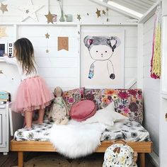 Long weekends are for P L A Y! Inside my favourite little cubby house @teamtonkin  You can find the gorgeous NEW #paxandhart Peaches print & #numero74 star cushion and garland at Talo x