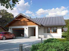 Projekt domu parterowego Niko o pow. 85,78 m2 z garażem 1-st., z dachem dwuspadowym, z tarasem, sprawdź! Home Fashion, Sweet Home, Garage Doors, Shed, Villa, New Homes, Exterior, Outdoor Structures, Cabin