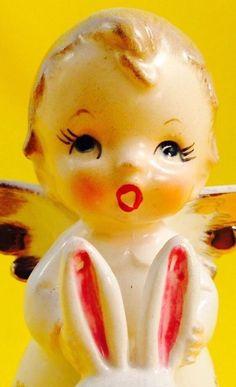VERY RARE! Adorable Boy Angel Bunny Rabbit Nikoniko Vintage Figurine Christmas | eBay