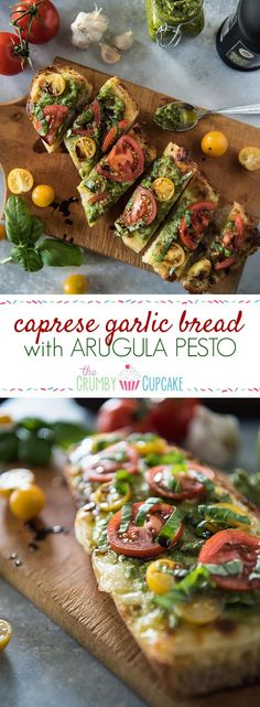Pair it with your favorite pasta dish or call it dinner by itself, this Caprese Garlic Bread with Arugula Pesto will please any lover of Italian cuisine!