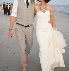 46 Cool Beach Wedding Groom Attire Ideas | Weddingomania. I like color of dress & groom. Like bride necklace.