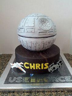 Star Wars birthday cake, via Flickr.  Change the black