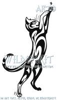 Cat And Fly Tribal Tattoo by WildSpiritWolf