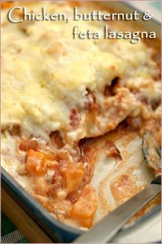 A simple and delicious recipe for chicken, roasted butternut and feta cheese lasagna - and you can easily make it vegetarian by leaving out the chicken!