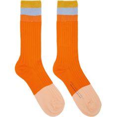 Stella McCartney Orange Short Striped Socks (2,930 MXN) ❤ liked on Polyvore featuring intimates, hosiery, socks, orange, short socks, logo socks, block socks, striped socks and color block socks