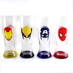Marvel Comics Mask Pint Pilsner Glasses (Set Of 4) - for your favorite beverage!  Perhaps a good gift for a tween or teenager (or the guy who thinks he's still one!) lol