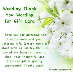 Wedding thank you card wording for gift card / Thank You Bridal Shower Wording for Gift Certificate