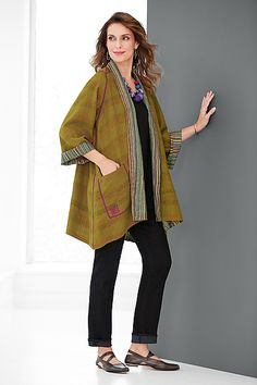 shown with the runaround sue jeans by parker smith and hudson shoe by cydwoq Hudson Shoes, Long Winter Jacket, Kantha Stitch, Line Jackets, Vintage Cotton, Bali, Upcycle, Kimono Top, Coats