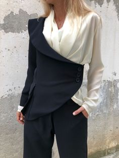 Excited to share this item from my shop: Extravagant Suit / Paradox / One Sleeve Blazer / Wide Leg Pants / High Waist Pants / Wedding Outfit / Asymmetric Jacket - Women Blazer Jackets - Ideas of Women Blazer Jackets Blazer Outfits Casual, Dress Outfits, Fall Outfits, Dresses, Blazers For Women, Pants For Women, Clothes For Women, Women Blazer, Ladies Blazers