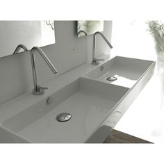 WS Bath Collections Ceramica II Unlimited Ceramic Rectangle Double Bathroom Sink…