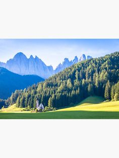 """""""View of the small church of St. John in Ranui, Dolomites mountain, Italy"""" Magnet by PaoloModena 