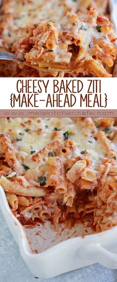 Not only is this cheesy baked ziti super easy to make AND crazy delicious, but it can be made ahead of time and frozen. Time to stock the freezer with cheesy pasta casseroles! (Bake Ziti With Ground Beef) Pasta Casserole, Casserole Recipes, Pasta Recipes, Baking Recipes, Best Pasta Bake Recipe, Cafe Recipes, Easy Baked Ziti, Freezer Baked Ziti, Freezer Cooking