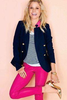 Navy+ pink color scheme. Color inspiration for Olivia's side of the bedroom.