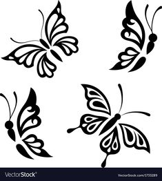 Collection black and white butterflies vector image on VectorStock Tribal Butterfly Tattoo, Butterfly Stencil, Butterfly Drawing, Butterfly Template, Deco Cuir, Calligraphy Drawing, Angel Drawing, Wood Burning Patterns, White Butterfly