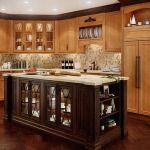 Knotty Pine Kitchen Cabinets With Small Kitchen Island